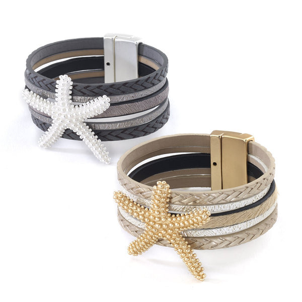 Starfish Mixed Leather Bracelet