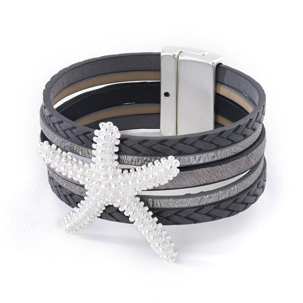 Starfish Mixed Leather Bracelet silver
