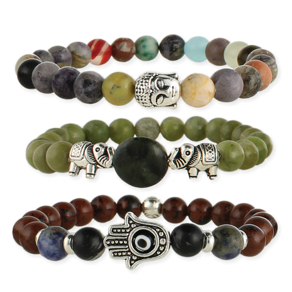 Stone and Symbol Stretch Bracelet