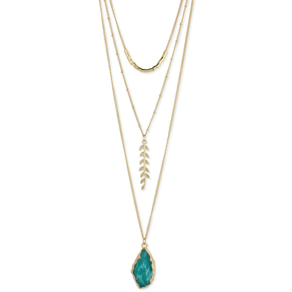 Stone and Fern Long Layered Necklace