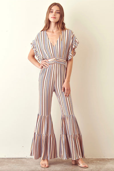 Storia Striped Jumpsuit Ruffled Bell Bottom