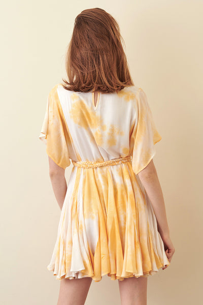 Storia Yellow Tie-Dye Mini Dress back