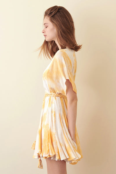 Storia Yellow Tie-Dye Mini Dress side