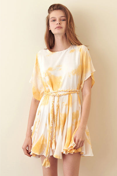 Storia Yellow Tie-Dye Mini Dress tie