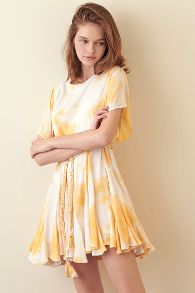 Storia Yellow Tie-Dye Mini Dress