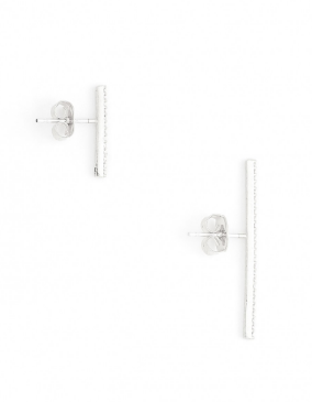 Straight and Narrow Asymmetrical Earrings silver
