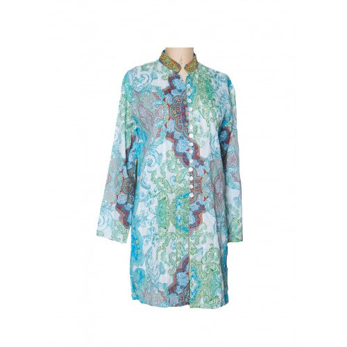 Sujana Panel Tunic Top in Aqua Green