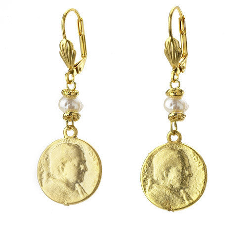 Vintage Turkish Coin Earrings with Pearl Detail
