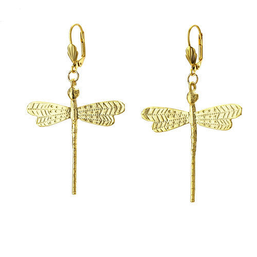 Gold Plated Dragonfly Earrings