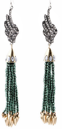 Tassel Glam Drop Earrings Green