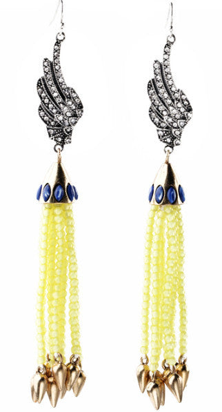 Tassel Glam Drop Earrings Yellow