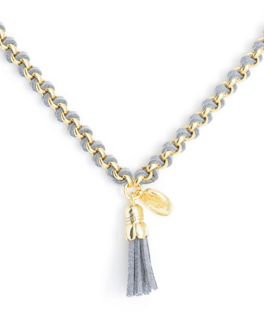 Tassel Pendant Short Necklace gray c
