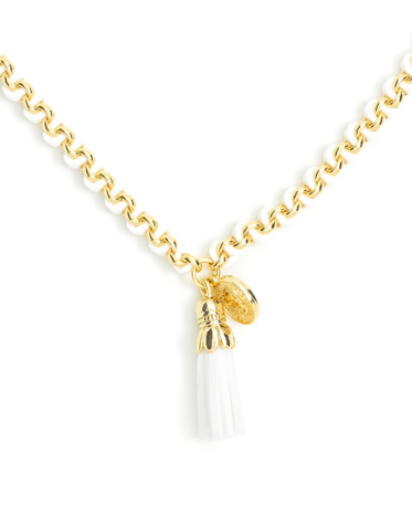 Tassel Pendant Short Necklace white z