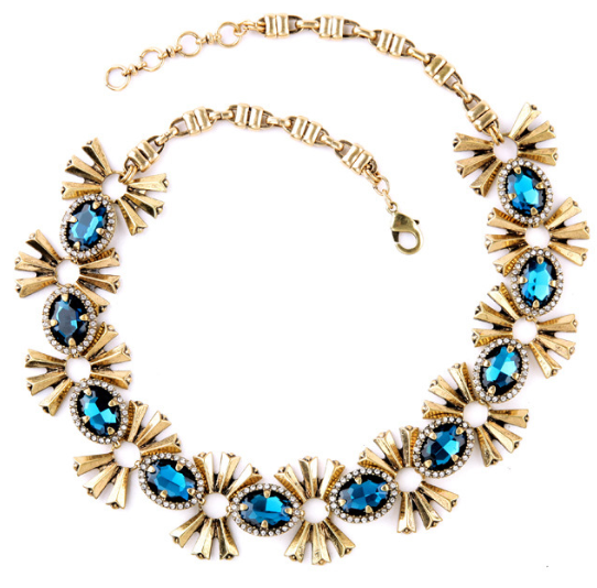 Teal Gems Statement Necklace