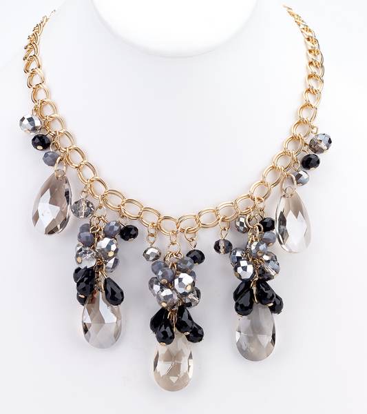 Teardrop Statement Necklace - Gray