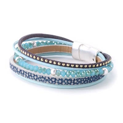 Thin Aqua Bead Leather Bracelet