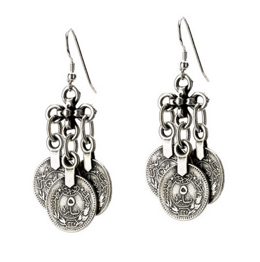 Three Dangle Turkish Coin Earrings