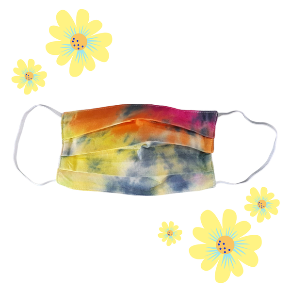 Tie Dye Pleated Face Mask Reusable Multicolor