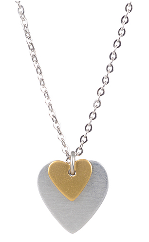 Tiny Gold Over Silver Heart Pendant