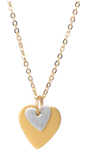 Tiny Silver Over Gold Heart Pendant