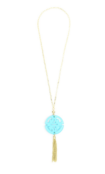 Travel Tassel Long Necklace baby blue