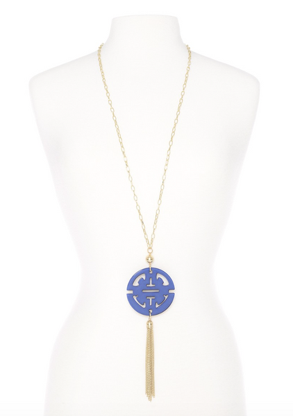 Travel Tassel Long Necklace cobalt