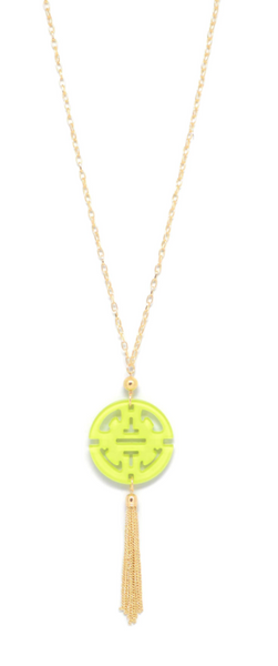 Travel Tassel Long Necklace lime