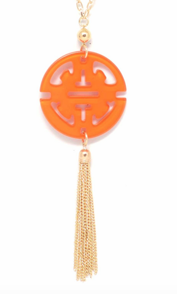 Travel Tassel Long Necklace orange