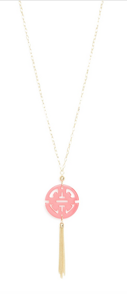 Travel Tassel Long Necklace pink