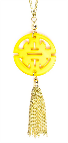 Travel Tassel Long Necklace yellow