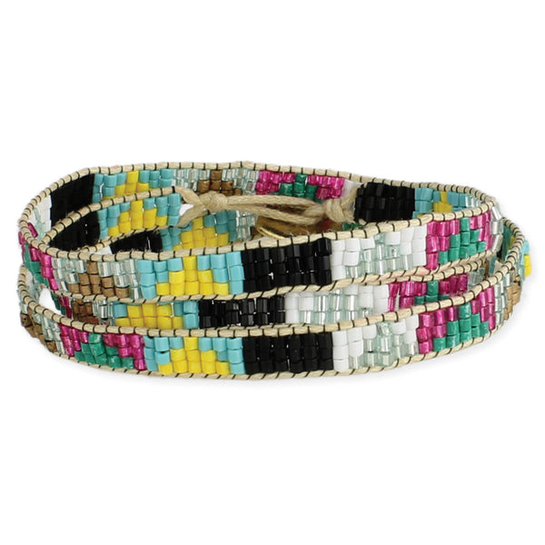 Triangle Design Beaded Wrap Bracelet