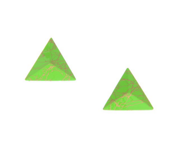 3D Triangle Earring Studs in Neon Green - Girl Intuitive