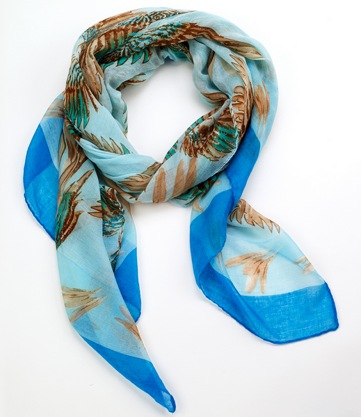 Tropical Parrot Scarf blue
