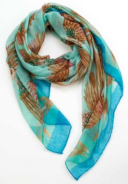 Tropical Parrot Scarf turq