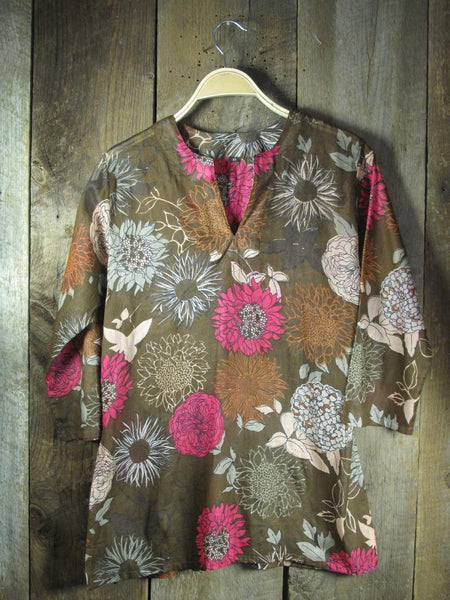Tunic in Brown with Pink Flowers