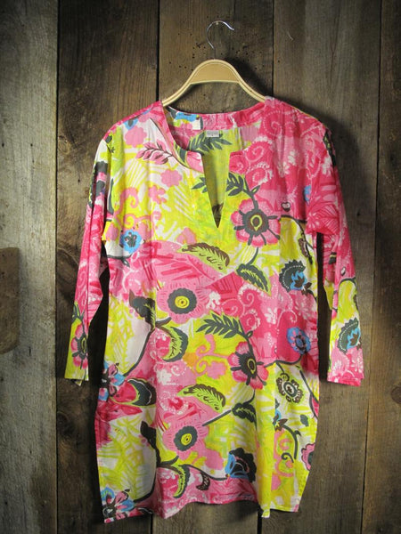 Cotton Tunic Top in Lime and Pink
