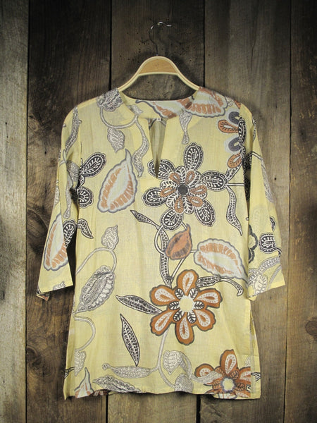 Cotton Tunic Top in Neutral Print