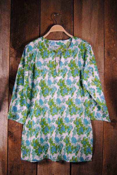 Cotton Tunic Top in Turquoise and Green