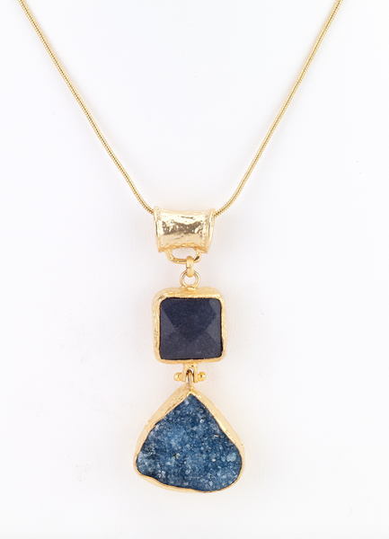 Turkish Double Stone Pendant Necklace