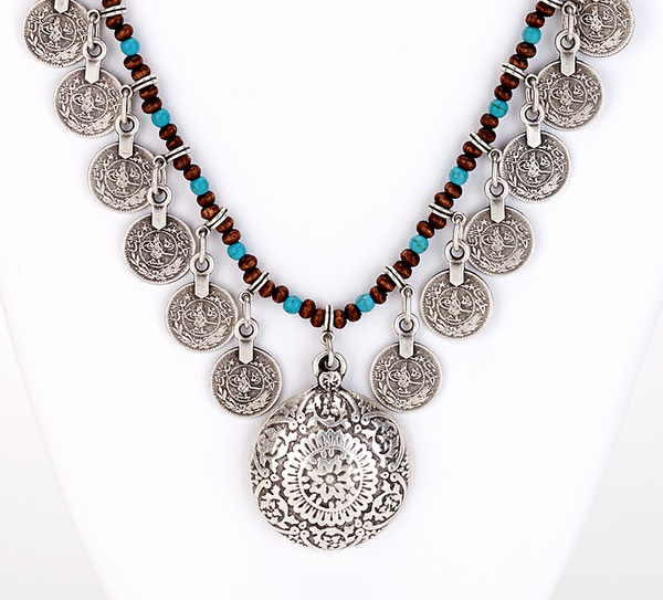 Turquoise Beaded Coin Necklace