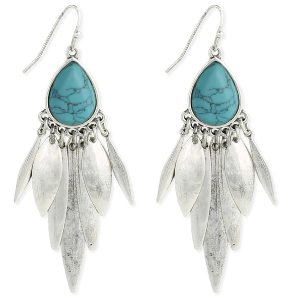 Turquoise Chandelier Earrings in Silver
