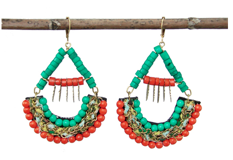 Turquoise and Coral Kantha Earrings