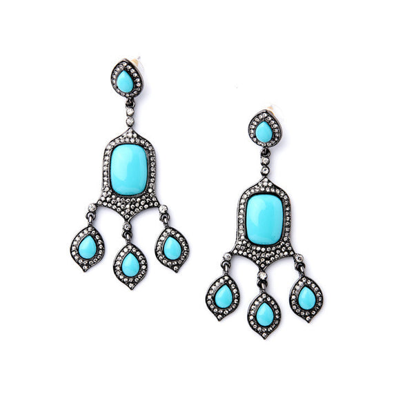 Turquoise Glam Boho Earrings