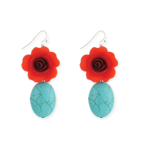 Turquoise and Red Flower Earring