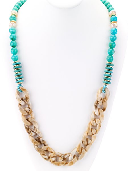 Turquoise Beads and Horn Links Long Necklace