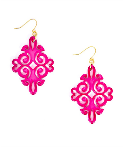 Twirling Blossom Earrings hot pink