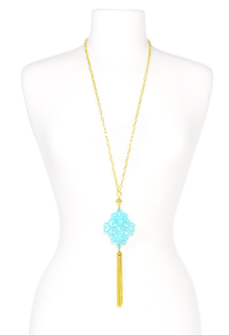 Twirling Blossom Tassel Necklace blue