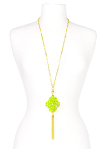 Twirling Blossom Tassel Necklace lime