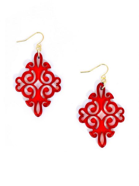 Twirling Blossom Earrings red