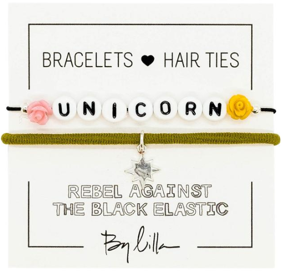 Hair - Unicorn Elastic Hair Tie and Bracelet By Lilla - Girl Intuitive - By Lilla -